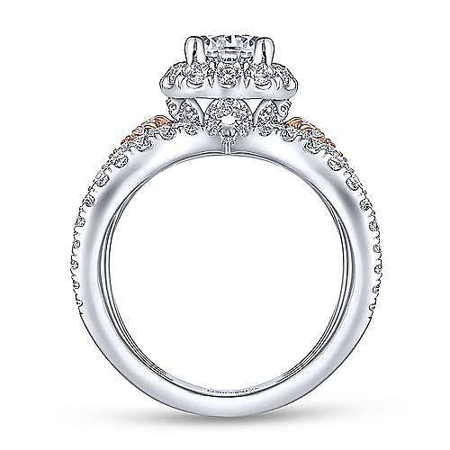Larissa 18k White And Rose Gold Round Halo Engagement Ring angle 2