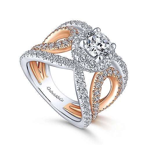 Larissa 18k White And Rose Gold Round Halo Engagement Ring angle 3