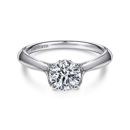 Lark 18k White Gold Round Solitaire Engagement Ring angle 1