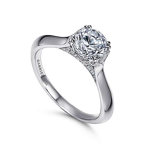 Lark 18k White Gold Round Solitaire Engagement Ring angle 3