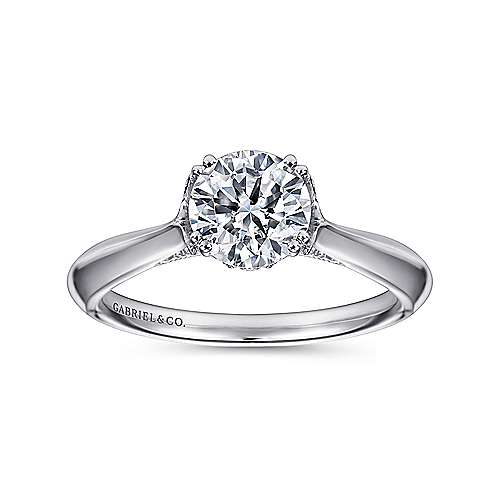 Lark 18k White Gold Round Solitaire Engagement Ring angle 5