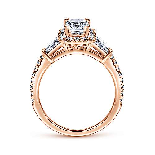 Larkin 14k Rose Gold Emerald Cut Halo Engagement Ring angle 2