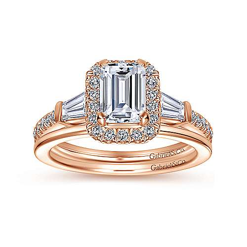 Larkin 14k Rose Gold Emerald Cut Halo Engagement Ring angle 4