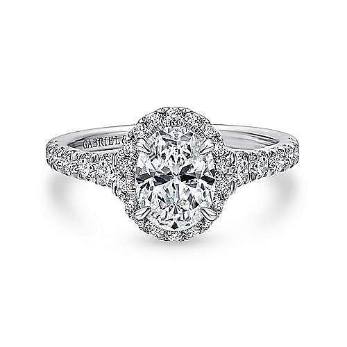 Gabriel - Laurel 14k White Gold Oval Halo Engagement Ring