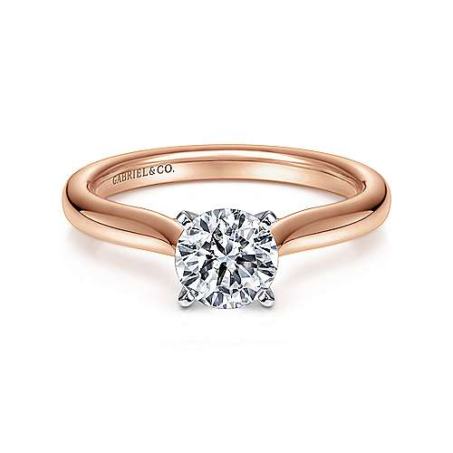Gabriel - Lauren 14k White And Rose Gold Round Solitaire Engagement Ring
