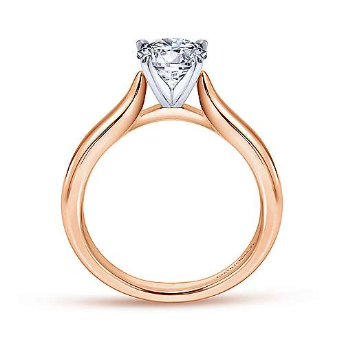 Lauren 14k White And Rose Gold Round Solitaire Engagement Ring angle 2
