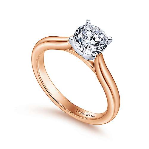 Lauren 14k White And Rose Gold Round Solitaire Engagement Ring angle 3