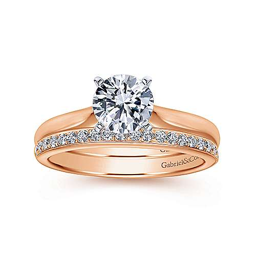 Lauren 14k White And Rose Gold Round Solitaire Engagement Ring angle 4