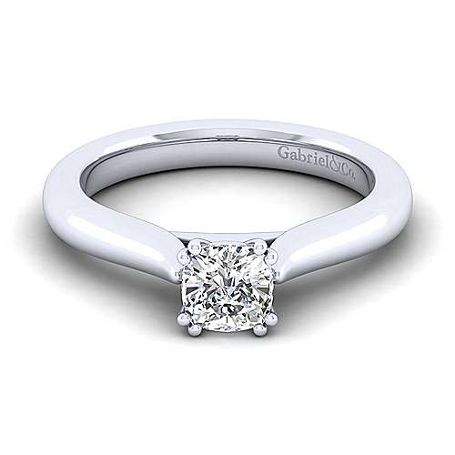 Lauren 14k White Gold Cushion Cut Solitaire Engagement Ring angle 1