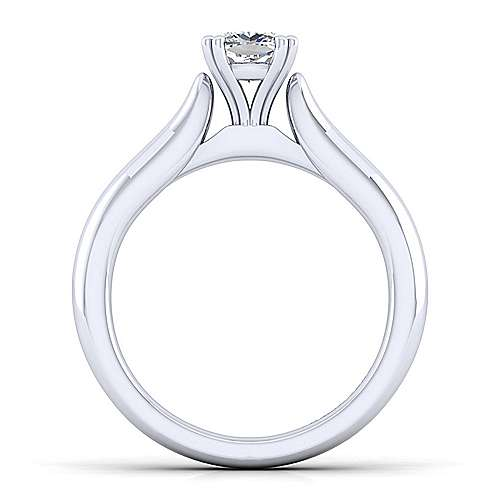 Lauren 14k White Gold Cushion Cut Solitaire Engagement Ring angle 2