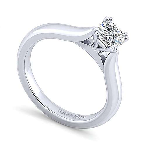 Lauren 14k White Gold Cushion Cut Solitaire Engagement Ring angle 3