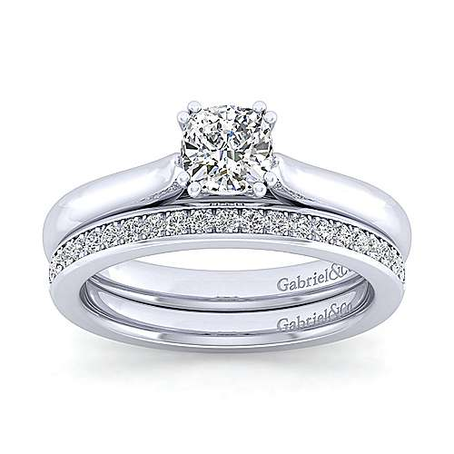 Lauren 14k White Gold Cushion Cut Solitaire Engagement Ring angle 4