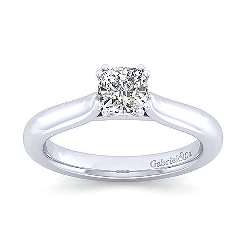 Lauren 14k White Gold Cushion Cut Solitaire Engagement Ring angle 5