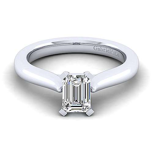 Gabriel - Lauren 14k White Gold Emerald Cut Solitaire Engagement Ring