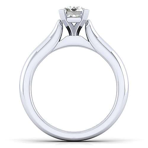 Lauren 14k White Gold Emerald Cut Solitaire Engagement Ring angle 2