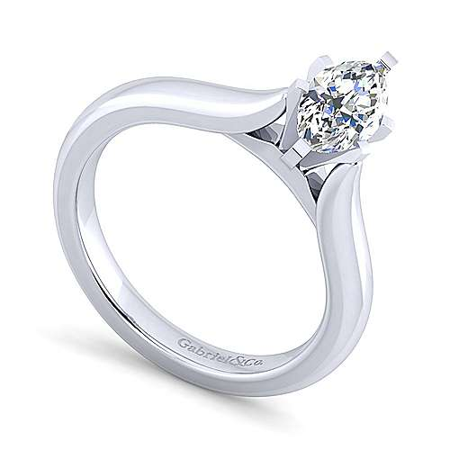 Lauren 14k White Gold Marquise  Solitaire Engagement Ring angle 3