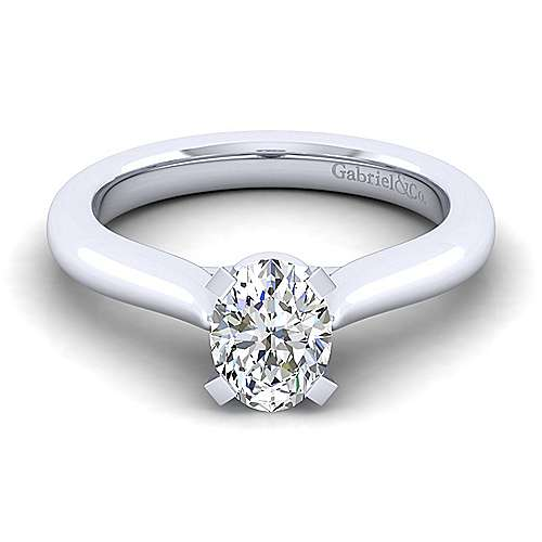 Lauren 14k White Gold Oval Solitaire Engagement Ring angle 1