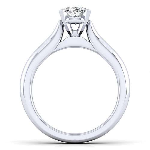 Lauren 14k White Gold Oval Solitaire Engagement Ring angle 2