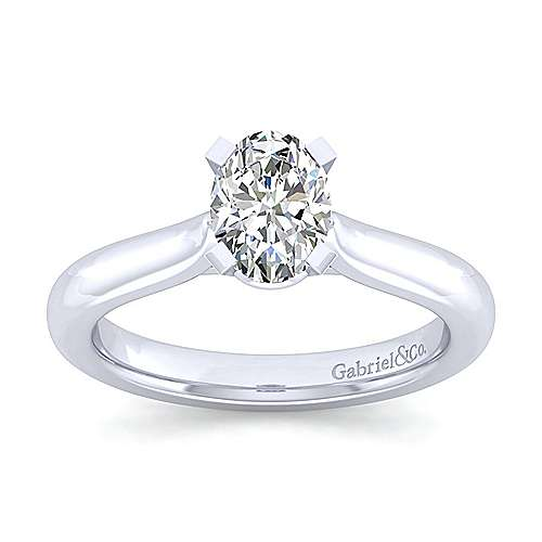 Lauren 14k White Gold Oval Solitaire Engagement Ring angle 5
