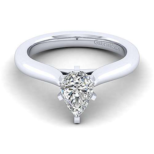Gabriel - Lauren 14k White Gold Pear Shape Solitaire Engagement Ring