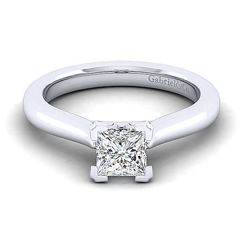Gabriel - Lauren 14k White Gold Princess Cut Solitaire Engagement Ring