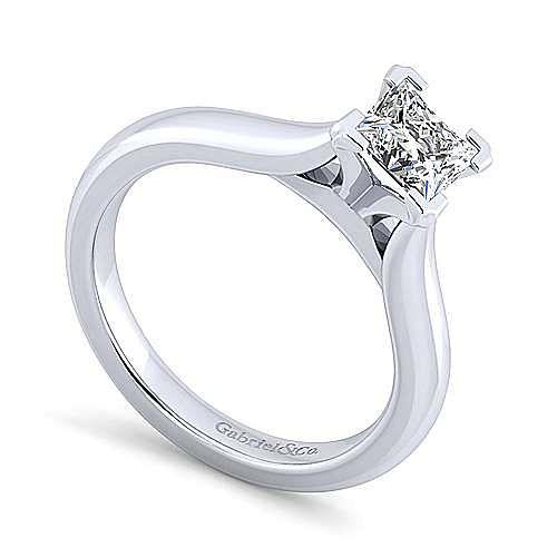 Lauren 14k White Gold Princess Cut Solitaire Engagement Ring angle 3