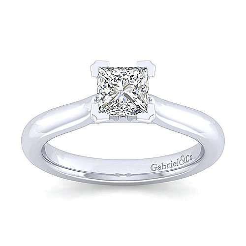 Lauren 14k White Gold Princess Cut Solitaire Engagement Ring angle 5