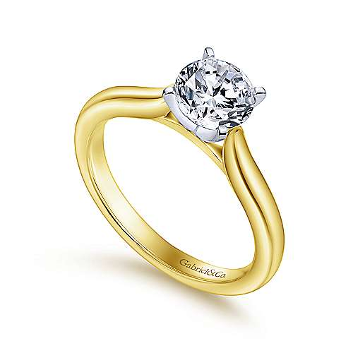 Lauren 14k Yellow And White Gold Round Solitaire Engagement Ring angle 3