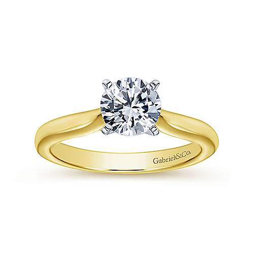 Lauren 14k Yellow And White Gold Round Solitaire Engagement Ring angle 5