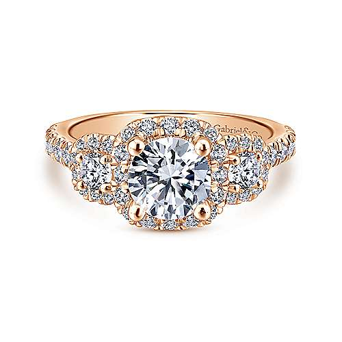 Gabriel - Lavender 14k Rose Gold Round Halo Engagement Ring