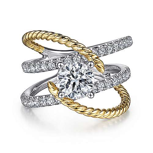 Lavish 14k Yellow And White Gold Round Twisted Engagement Ring angle 1