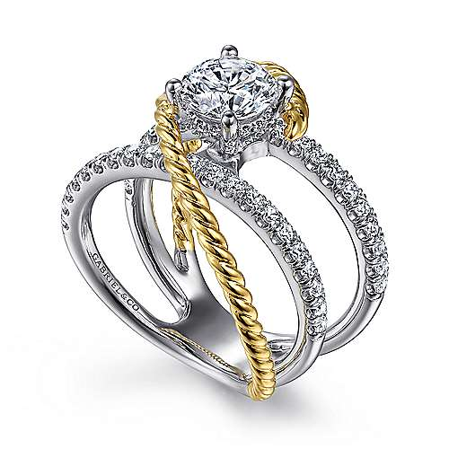 Lavish 14k Yellow And White Gold Round Twisted Engagement Ring angle 3