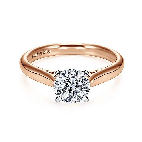 Gabriel - Leah 14k White And Rose Gold Round Solitaire Engagement Ring