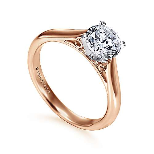 Leah 14k White And Rose Gold Round Solitaire Engagement Ring angle 3