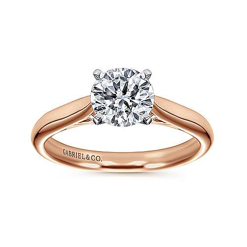 Leah 14k White And Rose Gold Round Solitaire Engagement Ring angle 5