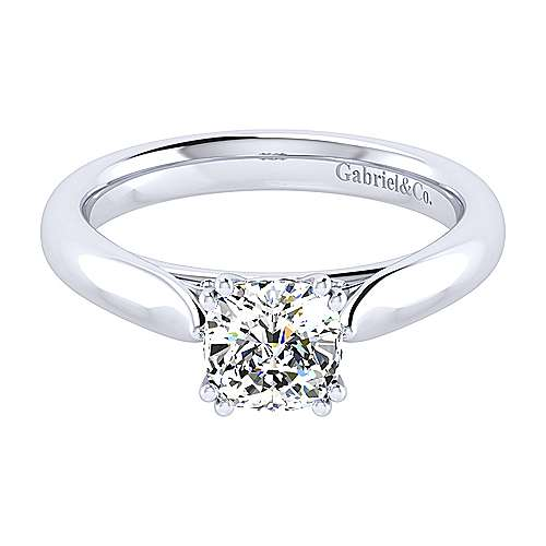 Leah 14k White Gold Cushion Cut Solitaire Engagement Ring angle 1