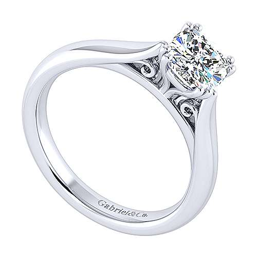 Leah 14k White Gold Cushion Cut Solitaire Engagement Ring angle 3