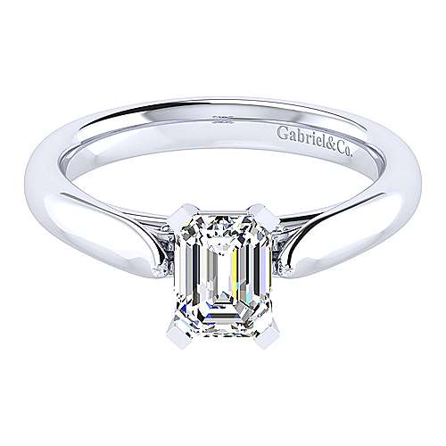 Gabriel - Leah 14k White Gold Emerald Cut Solitaire Engagement Ring