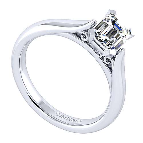 Leah 14k White Gold Emerald Cut Solitaire Engagement Ring angle 3