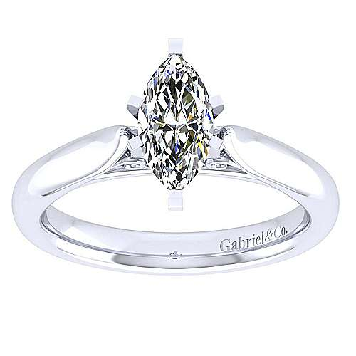 Leah 14k White Gold Marquise  Solitaire Engagement Ring angle 5