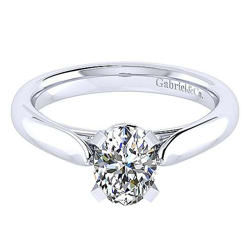 Leah 14k White Gold Oval Solitaire Engagement Ring angle 1