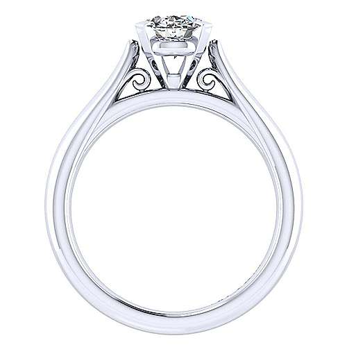 Leah 14k White Gold Oval Solitaire Engagement Ring angle 2