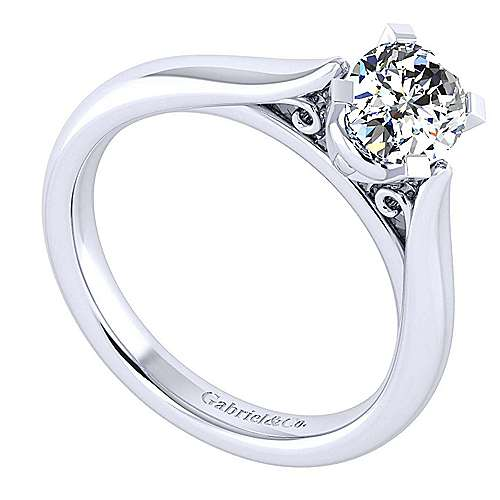 Leah 14k White Gold Oval Solitaire Engagement Ring angle 3