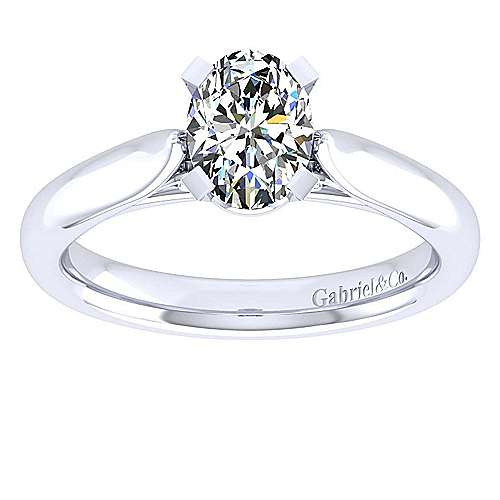 Leah 14k White Gold Oval Solitaire Engagement Ring angle 5