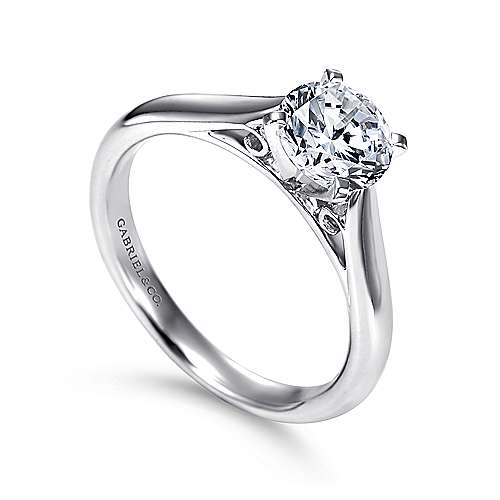 Leah 14k White Gold Round Solitaire Engagement Ring angle 3