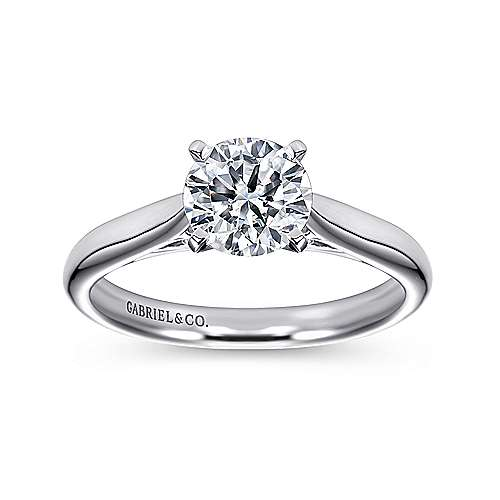 Leah 14k White Gold Round Solitaire Engagement Ring angle 5