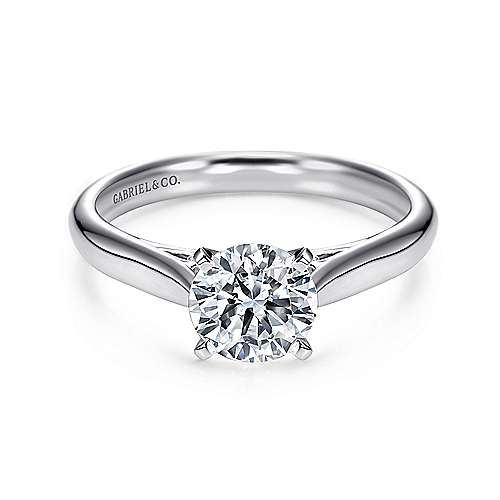 Gabriel - Leah Platinum Round Solitaire Engagement Ring