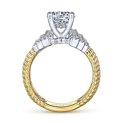 Leandra 14k Yellow And White Gold Round Straight Engagement Ring angle 2