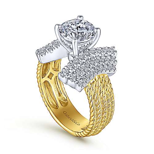 Leandra 14k Yellow And White Gold Round Straight Engagement Ring angle 3
