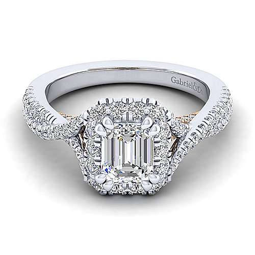 Gabriel - Leanna 14k White And Rose Gold Emerald Cut Halo Engagement Ring